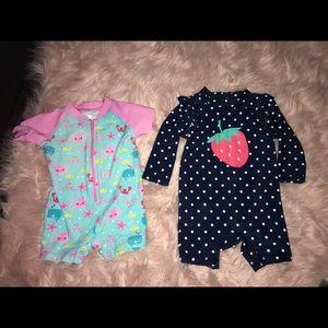 Carters strawberry polka dot swimsuit and koala